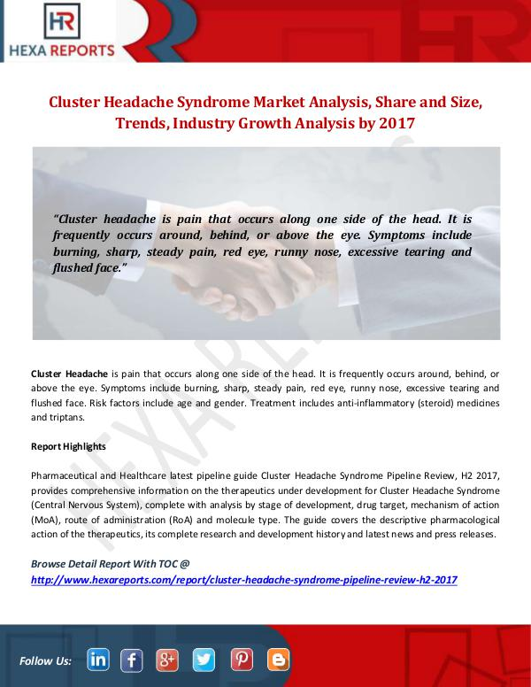 Hexa Reports Industry Cluster Headache Syndrome Market