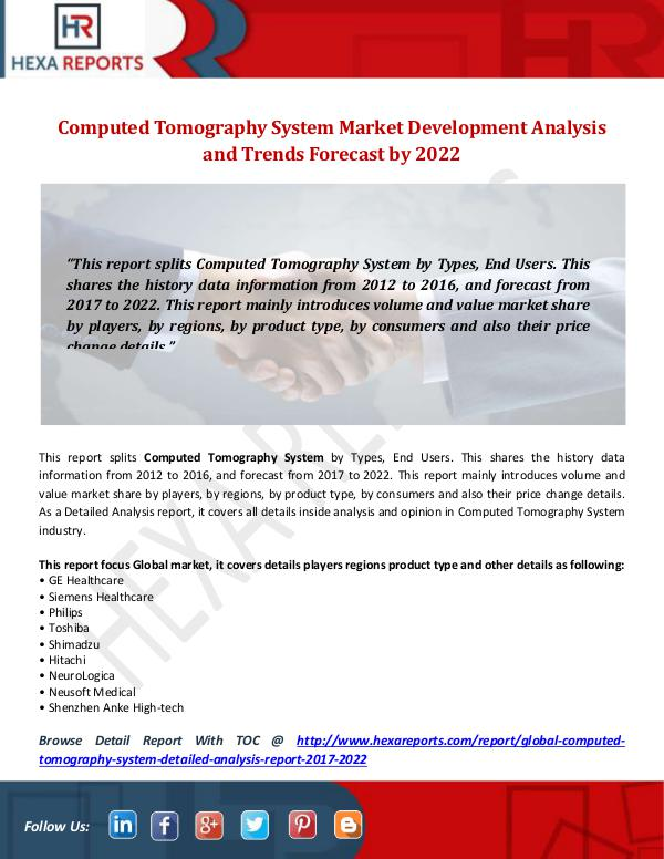 """""""Computed Tomography System Market """""""