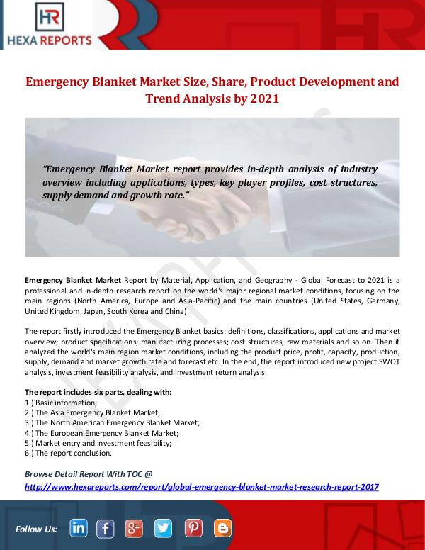 Hexa Reports Industry Emergency Blanket Market