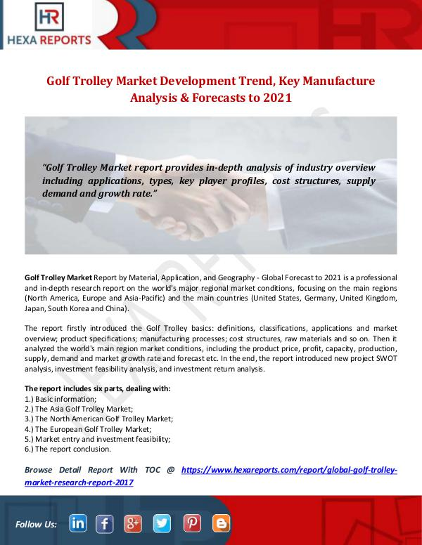 Hexa Reports Industry Golf Trolley Market