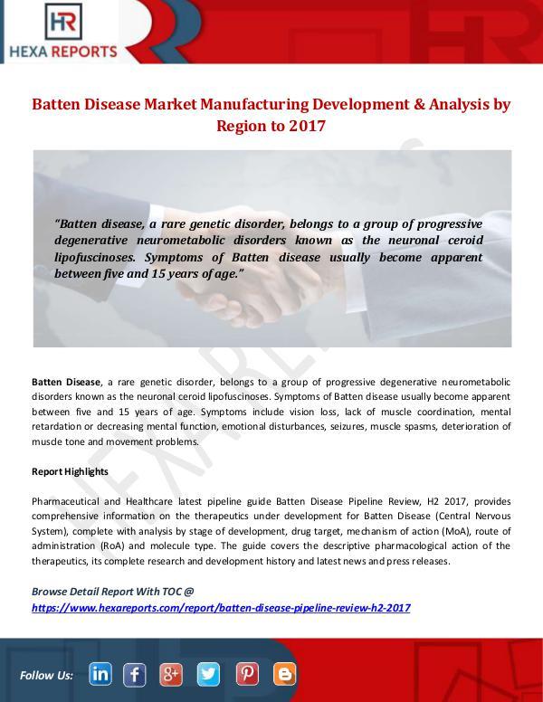 Hexa Reports Industry Batten Disease Market