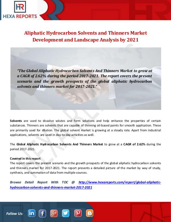 Hexa Reports Industry Aliphatic Hydrocarbon Solvents and Thinners Market
