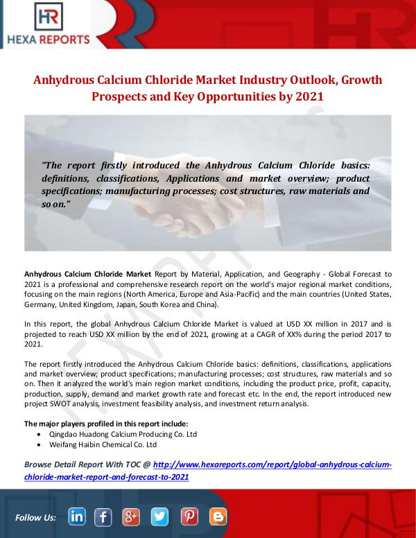 Anhydrous Calcium Chloride Market