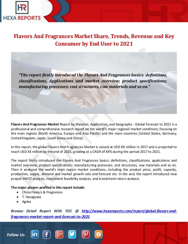 Hexa Reports Industry Flavors And Fragrances Market