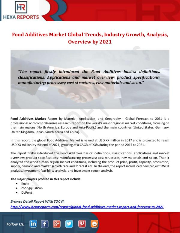 Hexa Reports Industry Food Additives Market