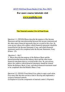 ACCT 504 Invent Youself/uophelp.com