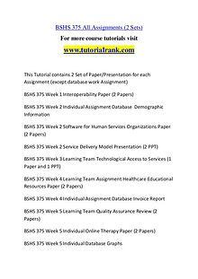 BSHS 375 Experience Tradition / tutorialrank.com