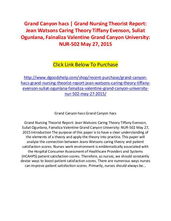 Grand Canyon hacs | Grand Nursing Theorist Report: Jean Watsons Carin Grand Canyon hacs | Grand Nursing Theorist Report: