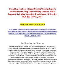 Grand Canyon hacs | Grand Nursing Theorist Report: Jean Watsons Carin