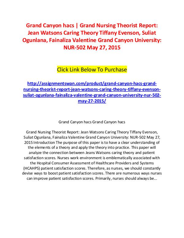 Grand Canyon hacs | Grand Nursing Theorist Report: Jean Watsons Carin Grand Canyon hacs | Grand Nursing Theorist Report: