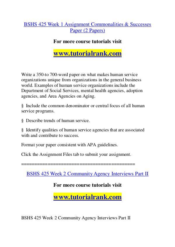 BSHS 425 Experience Tradition / tutorialrank.com BSHS 425 Experience Tradition / tutorialrank.com