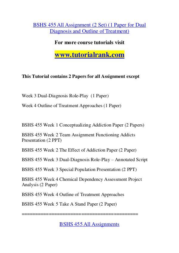 BSHS 455 Experience Tradition / tutorialrank.com BSHS 455 Experience Tradition / tutorialrank.com