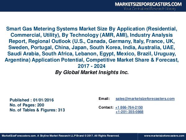 Smart Gas Metering Systems Market Size Showing USD 11 Billion by 2024 Smart Gas Metering Systems Market