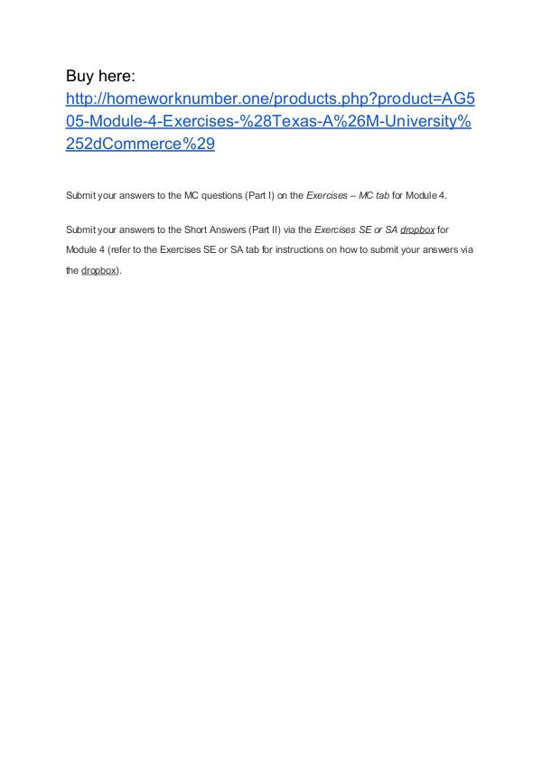 AG505 Module 4 Exercises (Texas A&M University-Commerce)