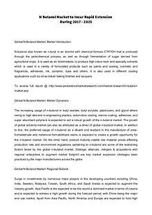 N Butanol Market to Incur Rapid Extension During 2017 - 2025