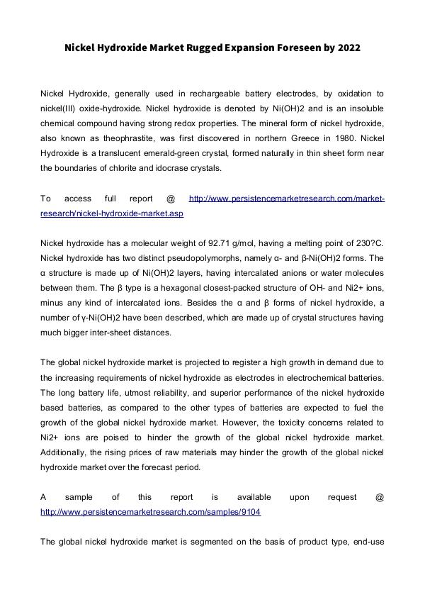 Mediumchain Triglycerides Market to Register Steady Growth During 201 Nickel Hydroxide Market: Global Industry Analysis