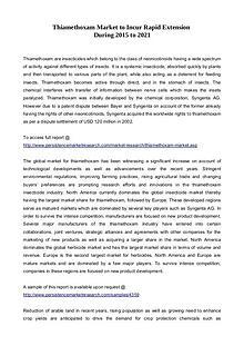 Thiamethoxam Market to Incur Rapid Extension During 2015 to 2021