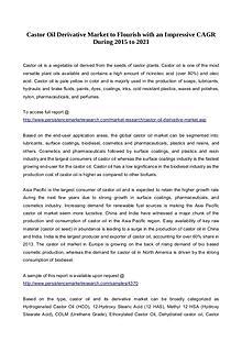 Castor Oil Derivative Market to Flourish with an Impressive CAGR Duri