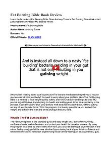 Fat Burning Bible PDF Free Download