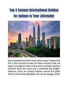 Top 3 Famous International Holiday for Indians to Tour Affordably