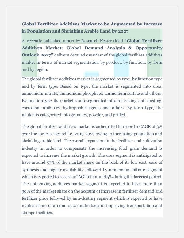 Chemicals and Materials Fertilizer Additives Market Demand Analysis
