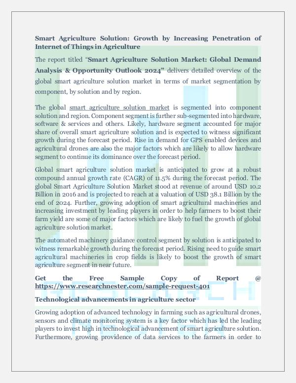 Market Research News Smart Agriculture Solution Market Future Outlook