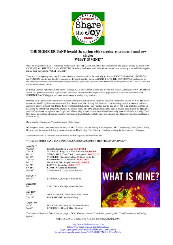 The Shimmer Band, 'What Is Mine?' Release and Festival News