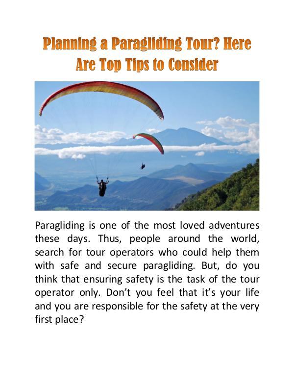 Planning a Paragliding Tour? Here Are Top Tips to Consider Planning a Paragliding Tour? Here Are Top Tips