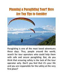 Planning a Paragliding Tour? Here Are Top Tips to Consider