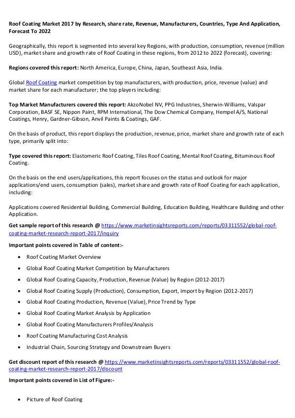 Roof Coating Market 2017 Roof Coating Market 2017 forecast to 2022