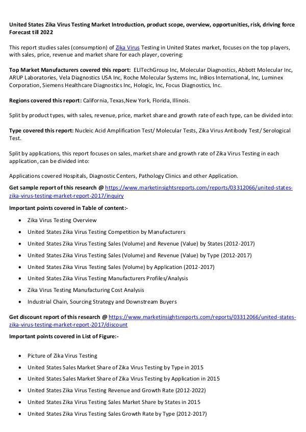 United States Zika Virus Testing Market 2017 United States Zika Virus Testing Market 2017