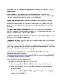 Global Potassium Oleate (CAS 143-18-0) Market 2017