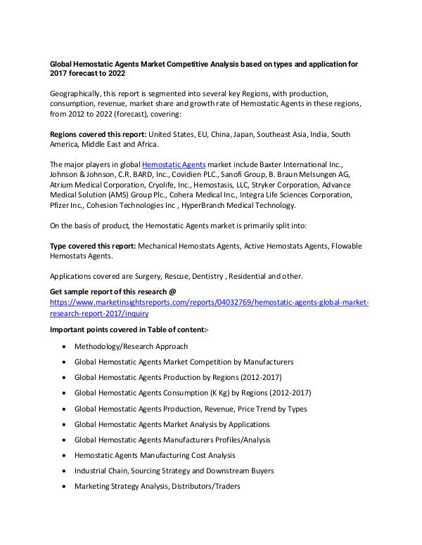 Global Hemostatic Agents Market 2017 Global Hemostatic Agents Market 2017