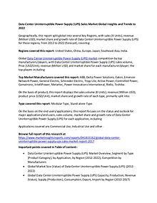 Data Center Uninterruptible Power Supply (UPS) Sales Market