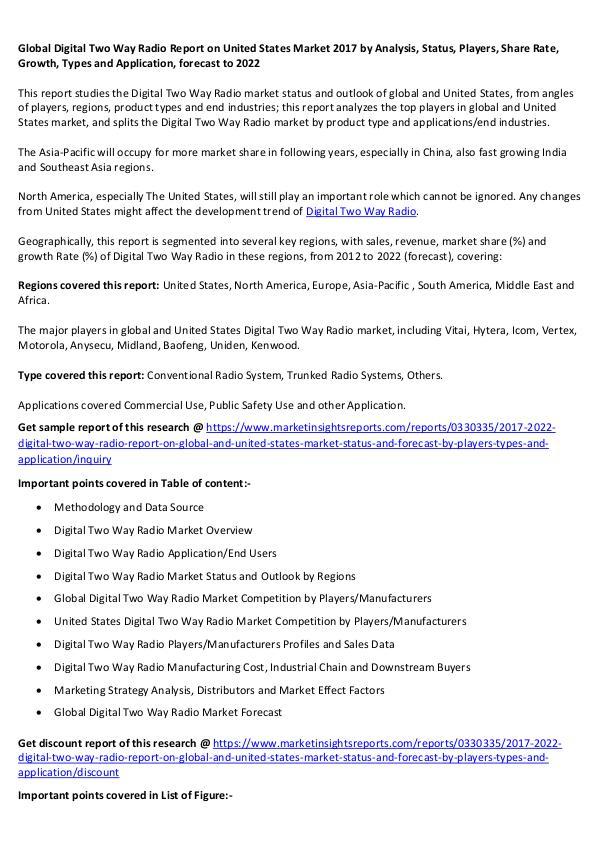 Global Digital Two Way Radio Report on United States Market 2017 Digital Two Way Radio on United States Market 2017