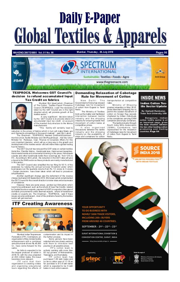Global Textiles & Apparels - Daily E-Paper Global Textiles & Apparels E-PAPER - (26 July 2018