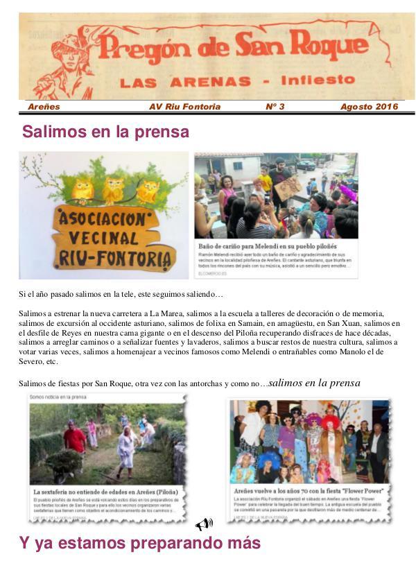 Periódico Pregón de San Roque - Areñes (Piloña Asturias) 2016 Pregón de San Roque -Areñes (Piloña Asturias)