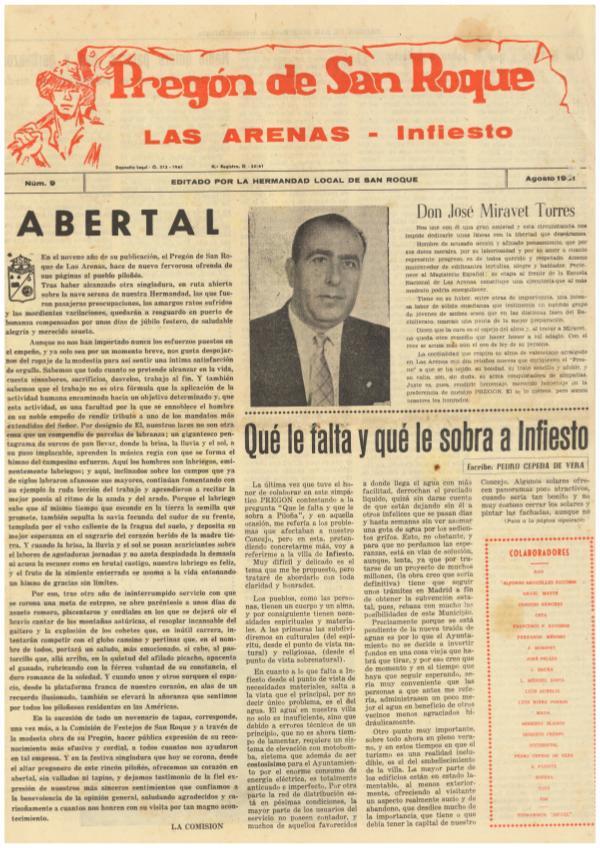 1961 Pregón de San Roque - Areñes(Piloña Asturias) Pregón de San Roque Ejemplar original de 1961