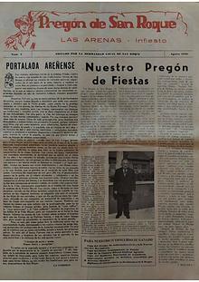 1959 Pregón de S. Roque-Areñes (Piloña Asturias)