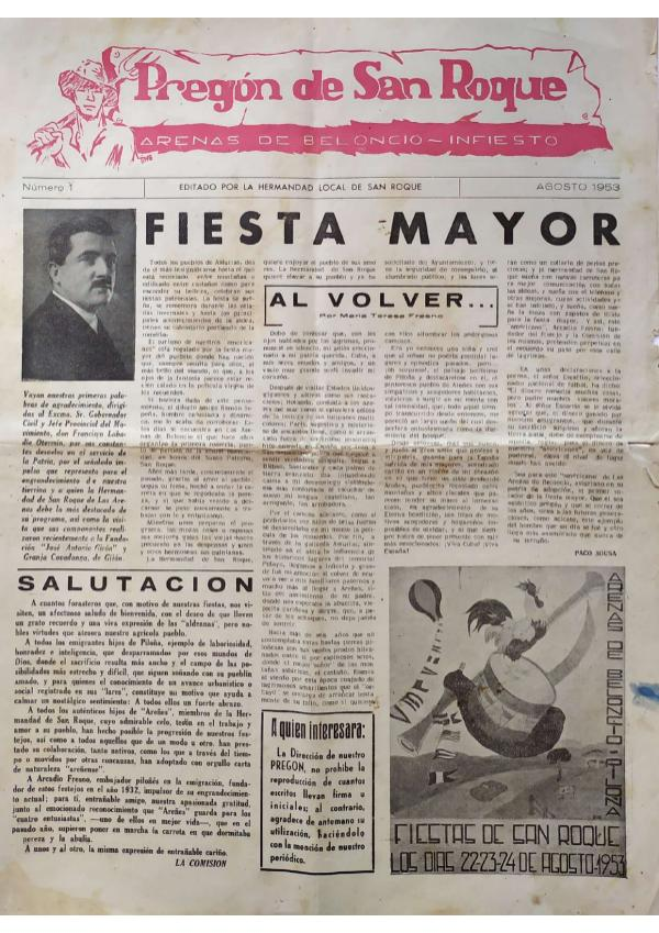 Pregón de San Roque Ejemplar original de 1953