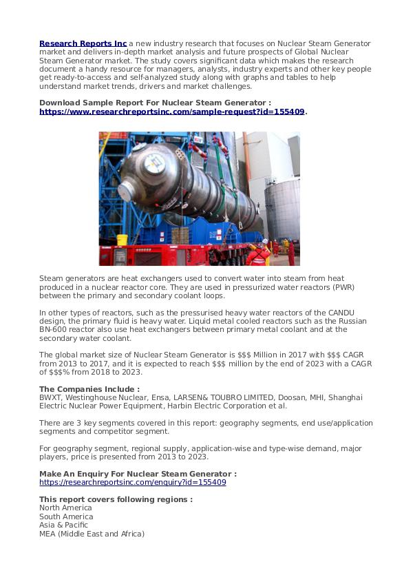 Trend Things Nuclear Steam Generator Market Outlook 2023