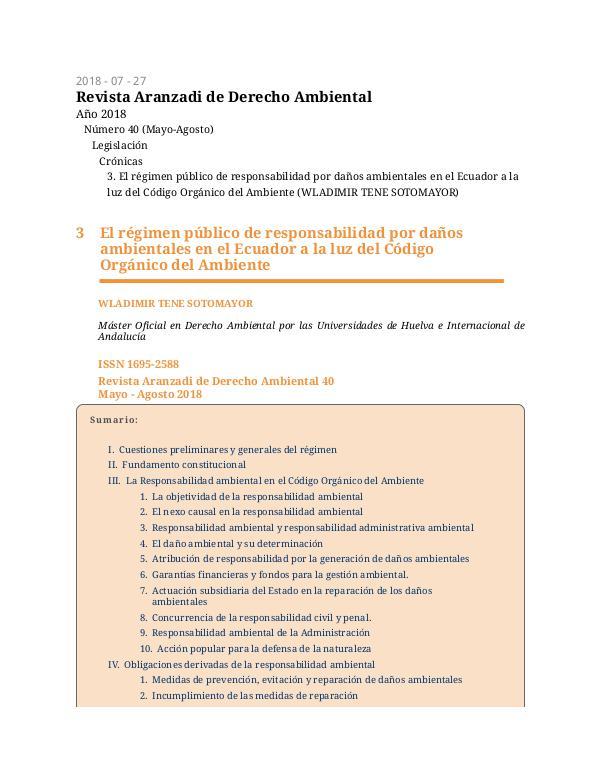 Revista Aranzadi de Derecho Ambiental - Wladimir Tene Revista Aranzadi de Derecho Ambiental