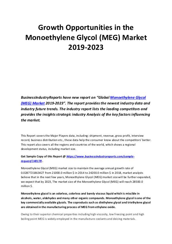 Business Industry Reports Growth Opportunities in the Monoethylene Glycol