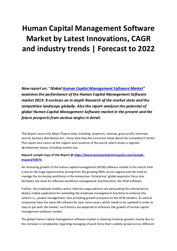 Human Capital Management Software Market 2019