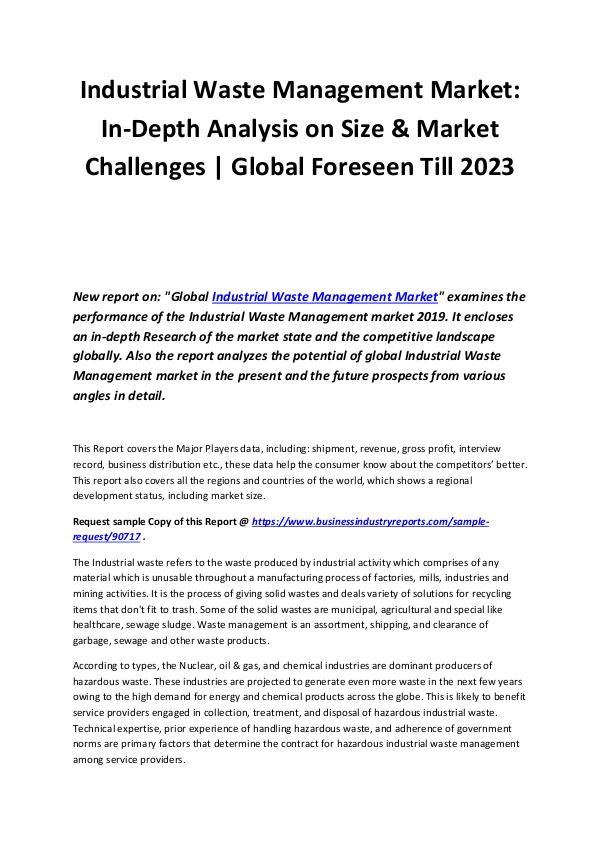 Industrial Waste Management Market 2019-2023