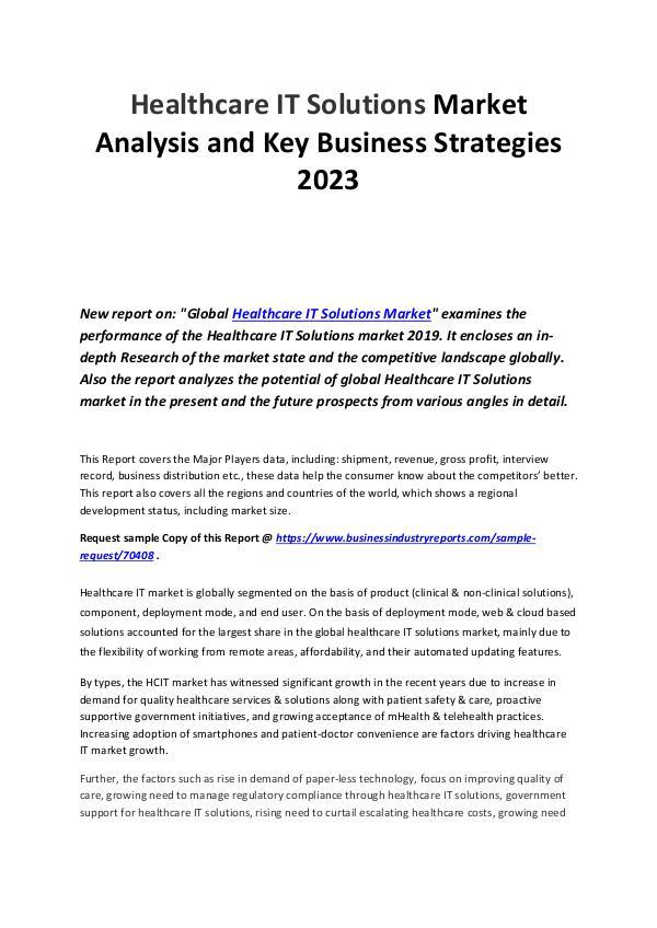 Healthcare IT Solutions Market
