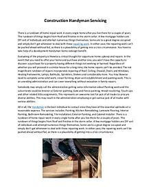 Construction Handyman Servicing