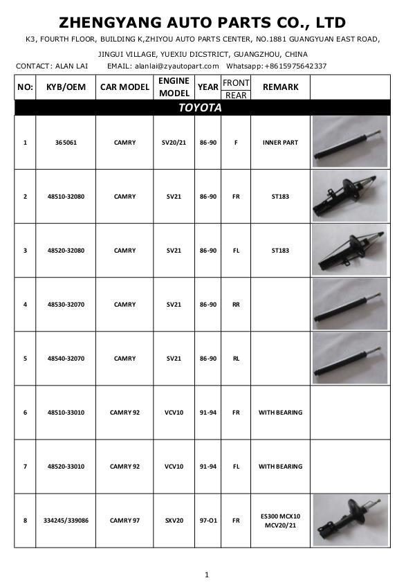 Shock absorber Catalog- Zheng Yang Auto Parts Shock Absorber