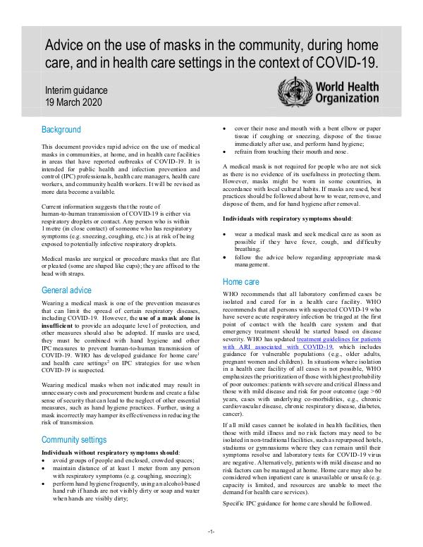 Coronavirus disease (COVID-19) technical guidance by WHO Advice on the use of masks in the community