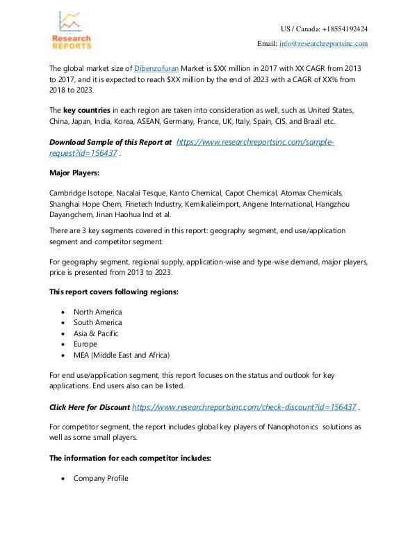 Dibenzofuran Market - Research Reports Inc 2018 Global Dibenzofuran market to Set Phenomenal